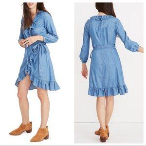 Madewell Denim Ruffled Wrap Dress